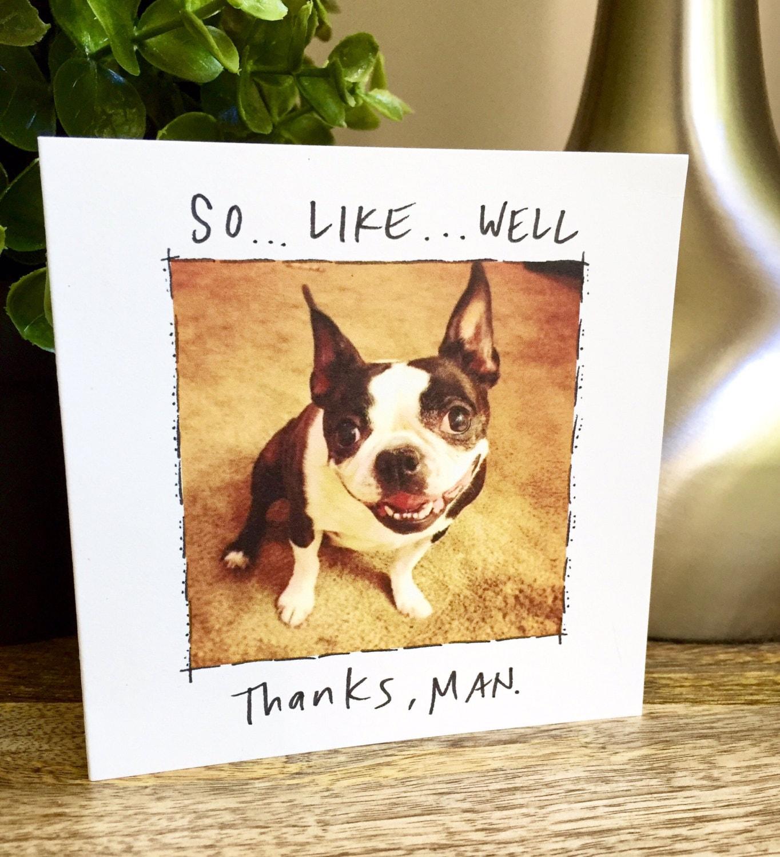Very Funny thank you card, Thanks man, Boston Terrier card, Boston  IT36