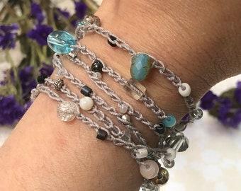 Crochet Wrap Bracelet Necklace Handmade