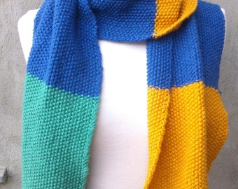 KNITTING PATTERN Colorblock scarf in seed stitch, beginners knitting, knitting for beginners, easy knitting pattern, beginner pattern