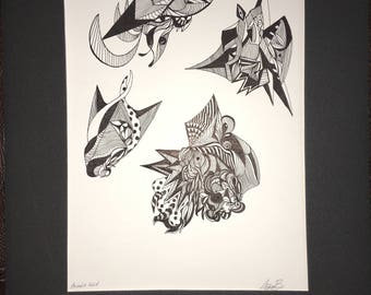 """Animalia  Inked 9"""" x 12"""" One of the kind.  Ink on paper contemporary art forms"""
