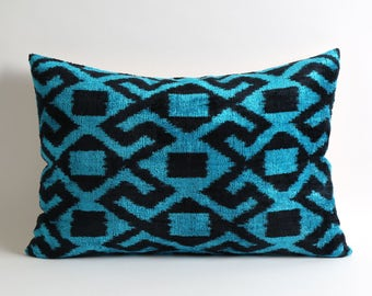 velvet pillow, ikat pillow, ikat pillows, blue black pillow, decorative pillows, ikat pillow cover, velvet ikat pillow, blue ikat pillow