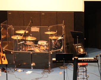 Drum Shield, Drum Shields, Drum Booth, Sound Booth, DS4 with Chrome Metal Hinges