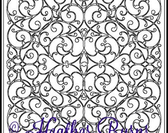 Coloring Page/Celtic Interlacing Tile/Adult Coloring/Celtic Coloring/Colouring Page