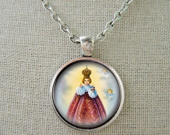 Holy Infant Jesus of Prague Necklace. Catholic Religious Pendant. Christian Necklace Jesus Medal Approx. Nickel size