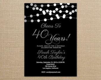 40th birthday invite etsy cheers to 40 years invitation any agewording 40th birthday invitations black and filmwisefo Choice Image