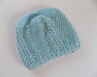 Women's Knit Beanie, Light Blue Knit Hat, Textured Blue Beanie, Women's Accessories