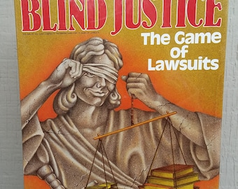 NIB Blind Justice The Game of Lawsuits 1989 Litigation Board Game Legal Lawyer Barrister Attorney Undergrad Graduation Gift Idea Avalon Hill