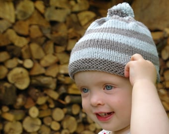 Easy knitting pattern baby bobble hat / baby beanie hat / Pompom baby hat / beginner baby knitting pattern pdf download / baby football hat
