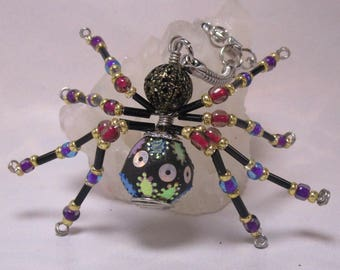 beaded spider - black and colorful