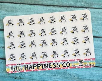 Kawaii Pop Quiz Stickers - School Stickers- Planner Stickers - Functional Stickers