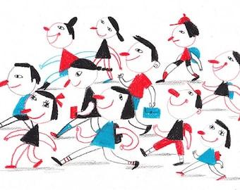 Back To School / ORIGINAL ILLUSTRATION / Pencils drawings / Children illustration / Funny children / Going / Red / Blue / Cyan