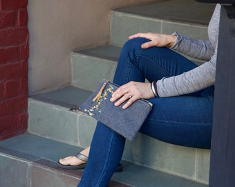 Clutch - Gray Wool Embroidered, Purse, Zippered Leather Bag