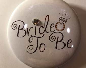 Bride To Be Button With Swarovski Crystal
