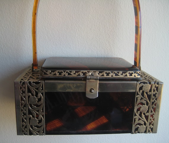 Tyrolean NY Cut Metal and Lucite Box Bag