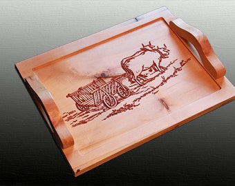 Wood tray service, custom engraving