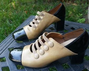 1960s Pumps 60s Pumps Mod Pumps Swinging 60s Mod Shoes Color Block Shoes Black Shoes Tan Shoes Size 5.5 Christina of Copenhagen 1960s Props