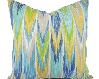 Two Green and Blue Outdoor Pillow Covers - Patio Pillows - Blue and Green Pillow - Chevron Patio Pillow - Couch Pillow - Accent Pillow