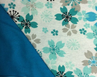Flannel Turquoise Floral Baby Blanket