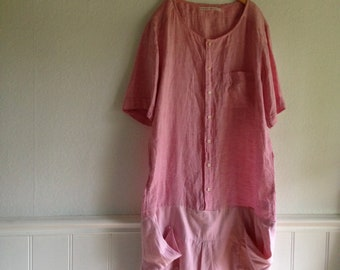Womens Potters Dress, Reworked, Repurposed Shirt, in pink linen and cotton Medium long Fall pockets, Workwear, Utilitarian