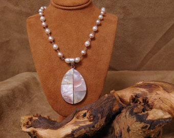 Sterling Silver Mother Of Pearl And Faux Pearl Necklace