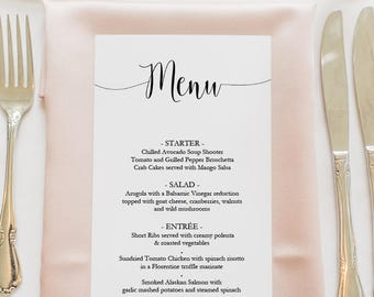 Printable Script Menu Template - DIY Wedding Menu - Instant Download - Tall Banquet Menu - Editable PDF Dinner Menu -  4x8 Inches - #GD2304
