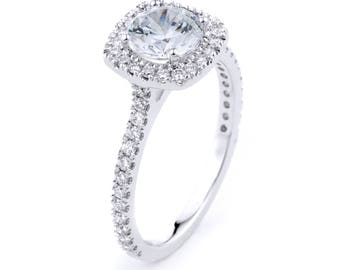 14k White Gold Conflict Free Diamond Engagement Ring, Diamond Halo Ring with CZ Center Stone, Solitaire Engagement Ring