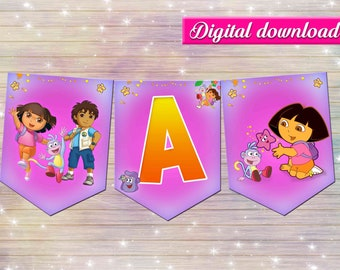 Dora the explorer banner - DIY happy birthday decoration - thank you card- digital file YOU PRINT