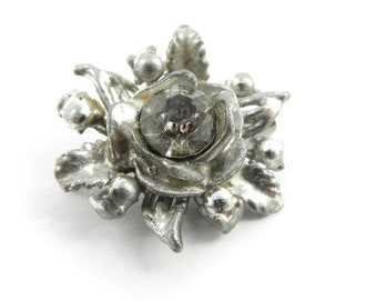 Vintage, Pot Metal, Flower Brooch, Rhinestone
