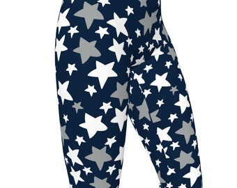 XU Xavier Blue / Silver, Stars Pattern High Waist Womens Stretch Leggings