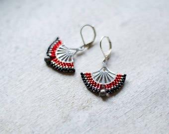 Silver Indie Earrings, Silver Filigree Earrings, Silver Fan Earrings, Oriental Jewelry, Boho Earrings, Ethnic Boho Earrings