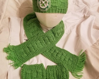 Childs set of various colored  ear warmer, scarf & boot cuffs with various floral attachments