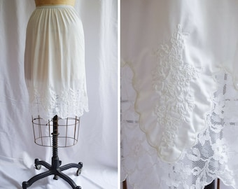 1960s Half Slip   Aristocraft   Vintage Petticoat White Nylon Tricot Lace Trim and Embroidery Scallop Hem Side Slit 60s Lingerie Size S