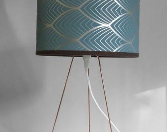 SMALL LAMPSHADE Palms pattern blue and silver