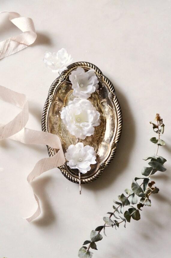 Weiße Hochzeit Haar-Clips Blumen Haarclip-Set weiße Blume