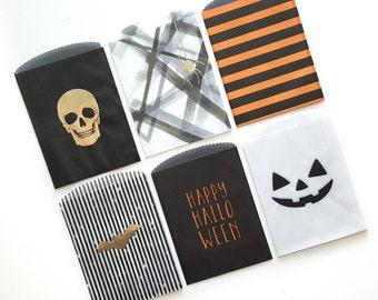 Halloween Goodie Bags, Glassine Bags, Trick Or Treat Bags, Halloween Treat Bag, Bake Sale Bags, Favor Bags, Classroom Treat Bags, Set of 4