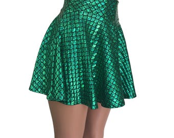 Mermaid Holographic High Waisted Skater Green Metallic - Clubwear, Rave Wear, Mini Circle Skirt