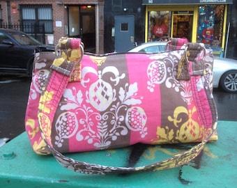Pink and Brown Chandelier Print Cotton Handbag, Lightweight Shoulder Purse, Baguette Bag