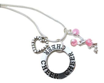 Cheerleader necklace Cheer team Graduation gifts Personalized gifts For Cheerleaders Pom Poms High school Cheerleading Cheer Jewelry