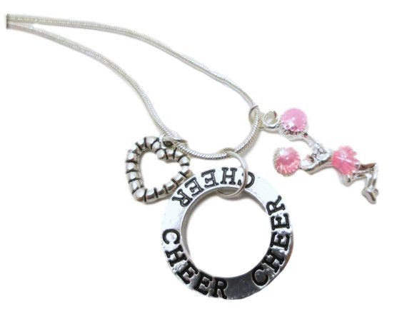 Items similar to Cheerleader necklace Cheer team