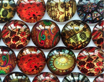 Set of 5 assorted stained glass Cabochons