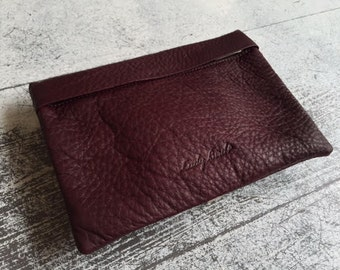 Burgundy Leather Clutch, Soft Leather Wallet, Bordeaux Purse, Cosmetic Bag, Lined Pouch, Credit Cards Slots Wallet, Zipper Purse, Pouch