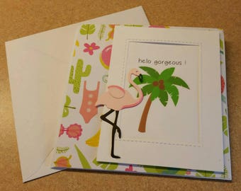 Handmade  Flamingo Friendship Card, Tropical Card. Thinking of You Card. Just Because card.