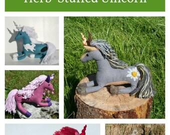 Wool Magical Forest Friend Unicorn ~ Wool Unicorn Fantasy Animal Companion, Stuffed w/ Herbs & Flax Seeds, Personalized Talisman Companion
