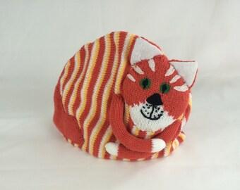 Stripy orange cat teacosy