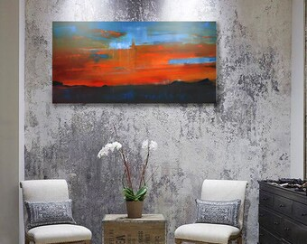 Original oil painting/ Landscape painting/ abstract painting/ sunset/ texture artwork/ oil/ interior/ decoration/ gift/ canvas/ orange/