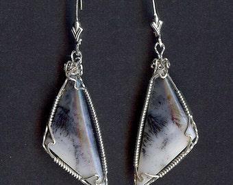 740 Elegant Blue Dendrite Earrings
