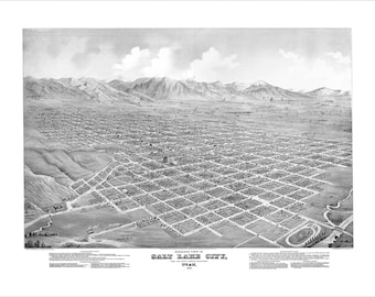 """Salt Lake City Utah in 1875 Panoramic Bird's Eye View Map by E.S. Glover 22x17"""" Reproduction"""