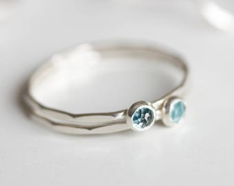 London Blue Topaz ring - skinny stackable ring with London Blue Topaz, December birthstone, sterling silver, 9k gold