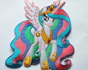 Princess Celestia Patch, Large Embroidery Patch, Iron on patch. Sew on patch. My Little Pony patch. MLP transfer. Applique. LARGE 15x12cm