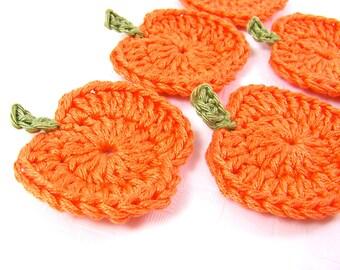 Crochet Pumpkin Applique - Set of 6, Small Crochet Appliques, Fall, Autumn, Halloween, Small Pumpkins, Handmade Crochet Embellishments